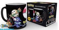 Pokemon beker/mok heat change met afbeelding van Litten, Rowlet & Popplio