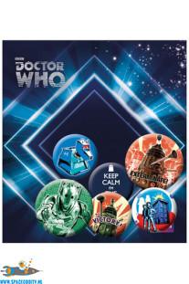 Doctor Who button set retro