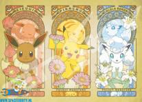 Pokemon puzzel met afbeelding van Eevee, Pikachu en Alola Vulpix