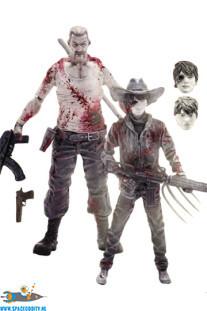 The Walking Dead bloody B&W Carl Grimes & Abraham Ford