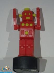 Vintage Robot push puppet rood 11 cm